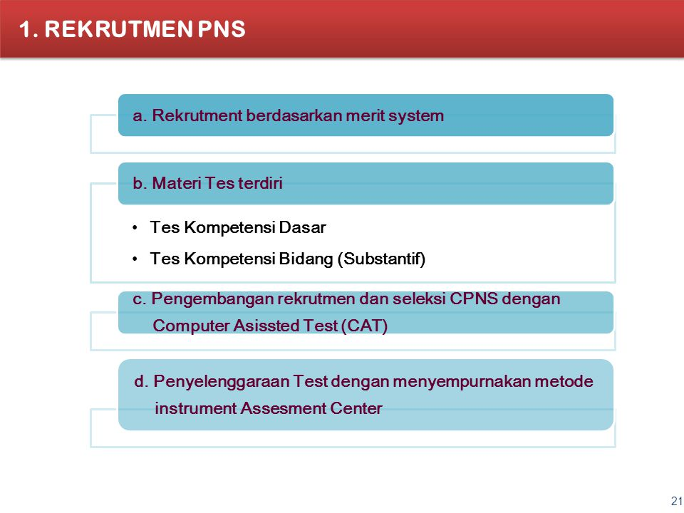 REKRUTMEN PNS a. Rekrutment berdasarkan merit system