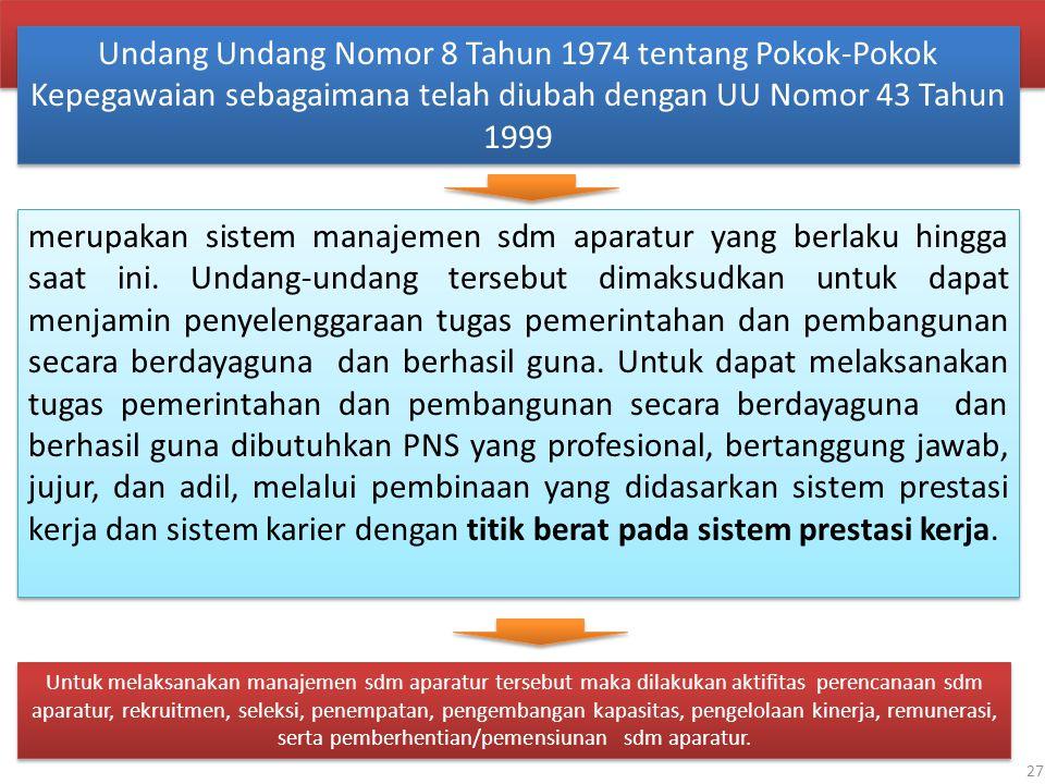 Undang Undang Nomor 8 Tahun 1974 tentang Pokok-Pokok Kepegawaian sebagaimana telah diubah dengan UU Nomor 43 Tahun 1999