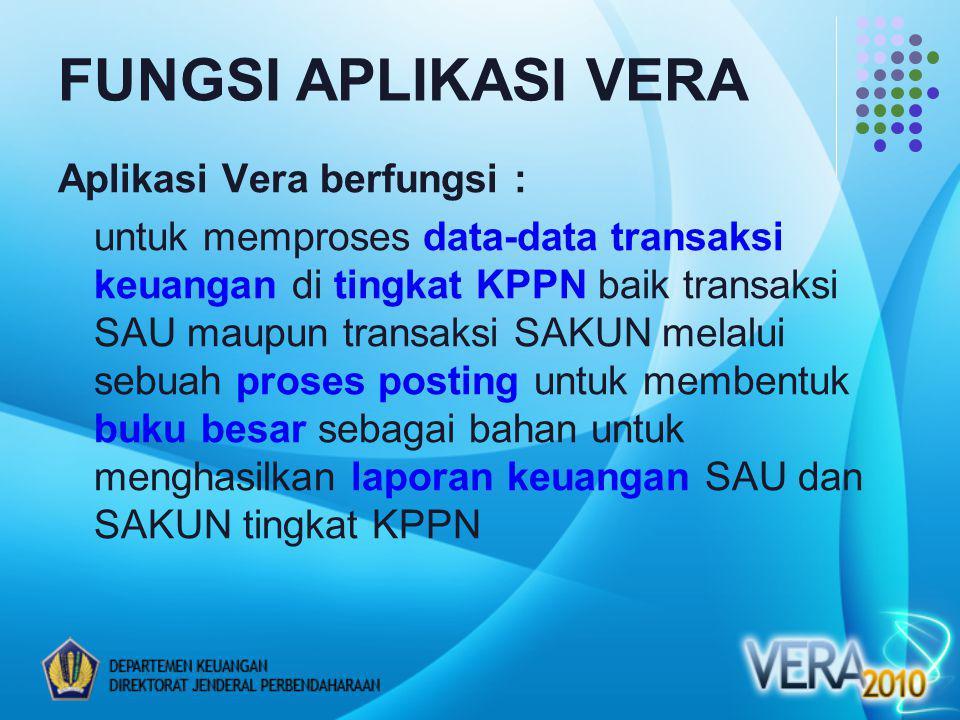 FUNGSI APLIKASI VERA Aplikasi Vera berfungsi :