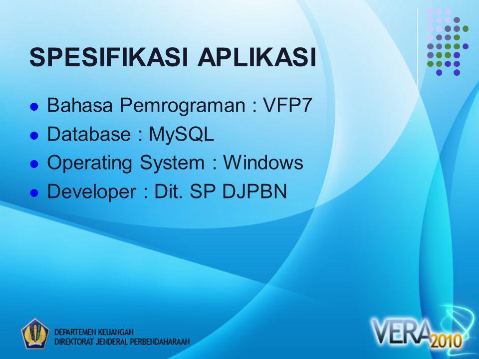 SPESIFIKASI APLIKASI Bahasa Pemrograman : VFP7 Database : MySQL