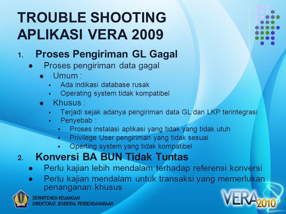 TROUBLE SHOOTING APLIKASI VERA 2009