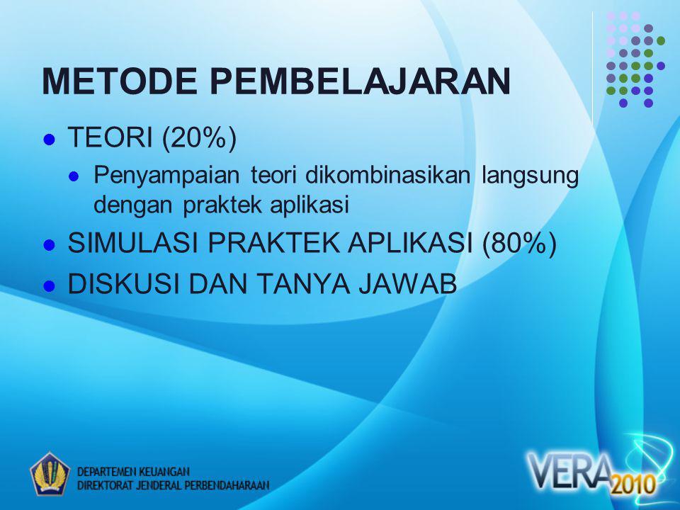 METODE PEMBELAJARAN TEORI (20%) SIMULASI PRAKTEK APLIKASI (80%)