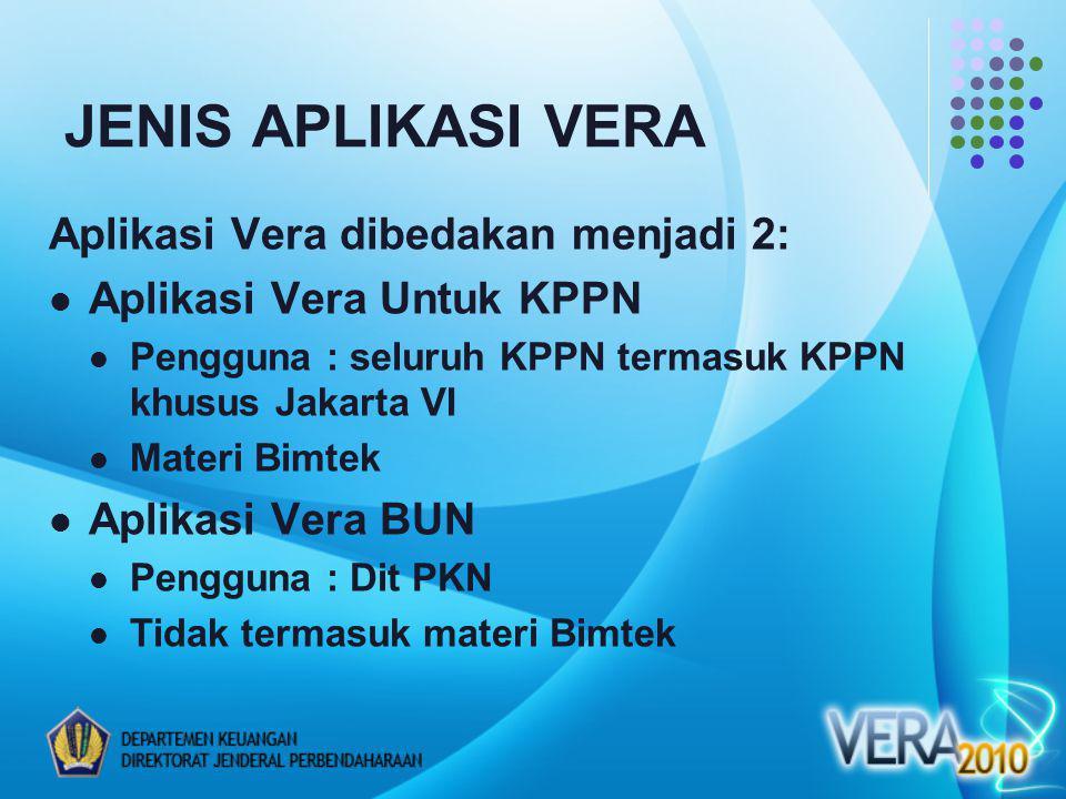 JENIS APLIKASI VERA Aplikasi Vera dibedakan menjadi 2: