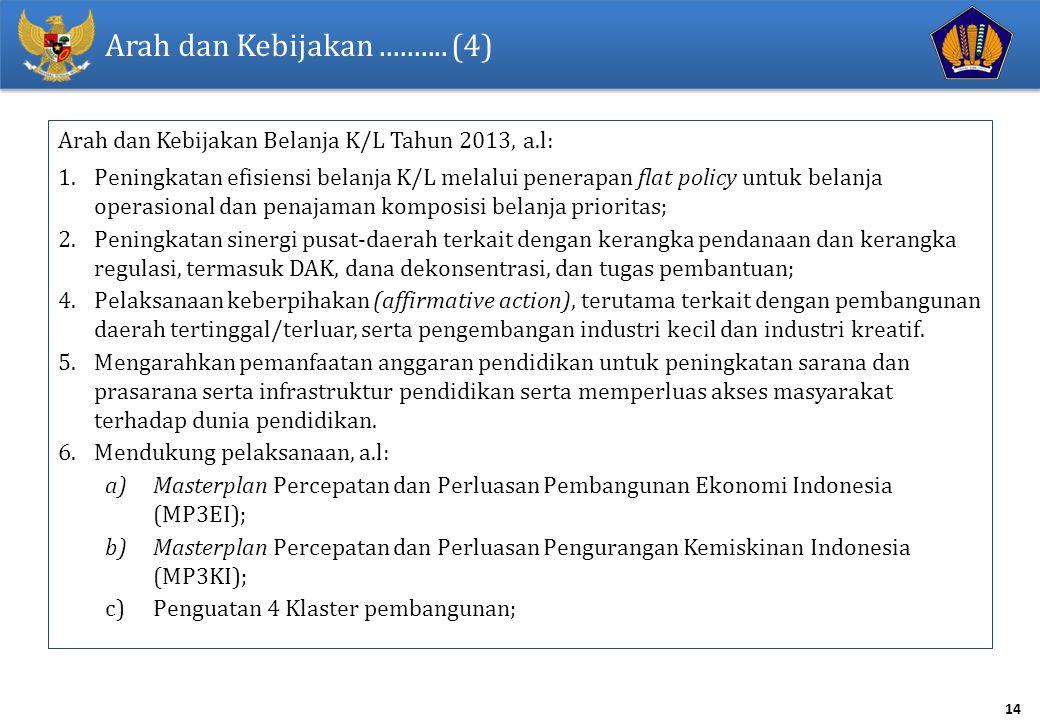Arah dan Kebijakan .......... (4) Arah dan Kebijakan Belanja K/L Tahun 2013, a.l:
