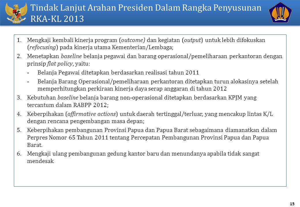 Tindak Lanjut Arahan Presiden Dalam Rangka Penyusunan RKA-KL 2013