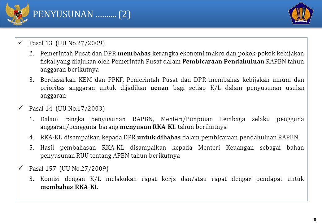 PENYUSUNAN .......... (2) Pasal 13 (UU No.27/2009)
