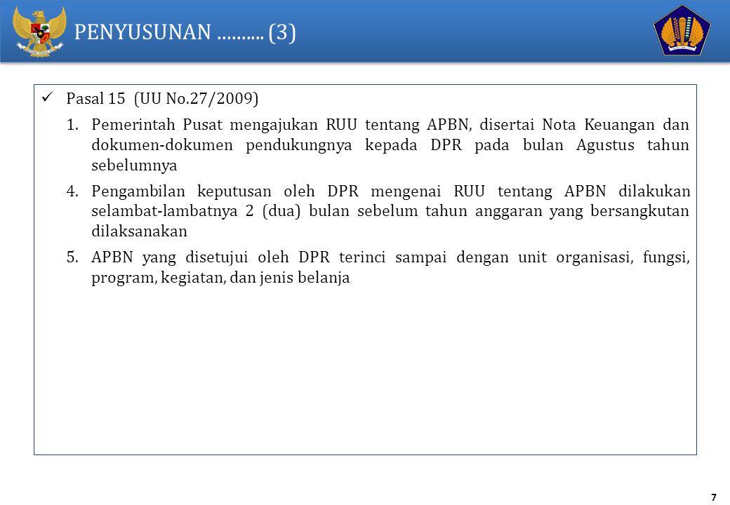 PENYUSUNAN .......... (3) Pasal 15 (UU No.27/2009)