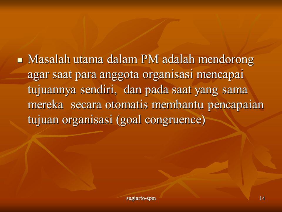 Masalah utama dalam PM adalah mendorong agar saat para anggota organisasi mencapai tujuannya sendiri, dan pada saat yang sama mereka secara otomatis membantu pencapaian tujuan organisasi (goal congruence)