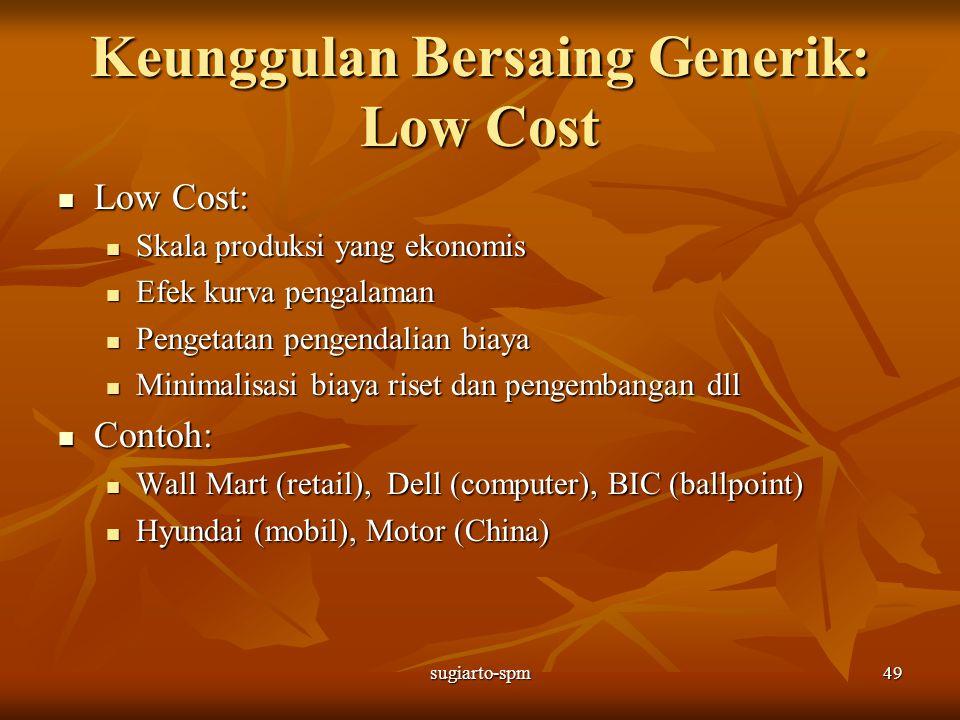 Keunggulan Bersaing Generik: Low Cost