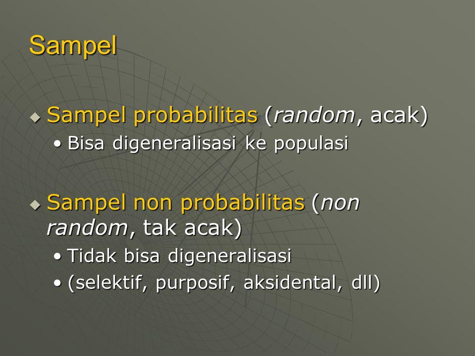 Sampel Sampel probabilitas (random, acak)