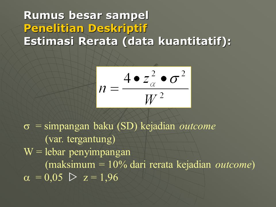 Rumus besar sampel Penelitian Deskriptif Estimasi Rerata (data kuantitatif):