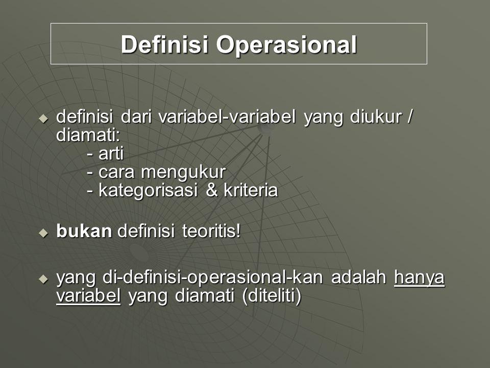 Definisi Operasional definisi dari variabel-variabel yang diukur / diamati: - arti - cara mengukur - kategorisasi & kriteria.
