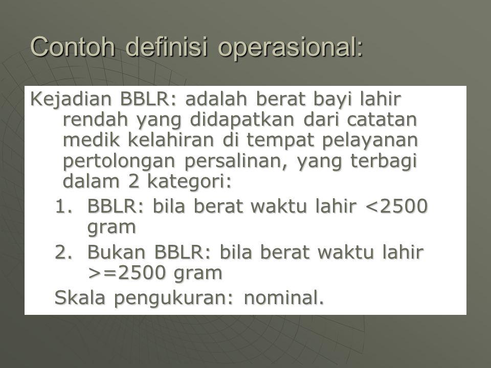 Contoh definisi operasional: