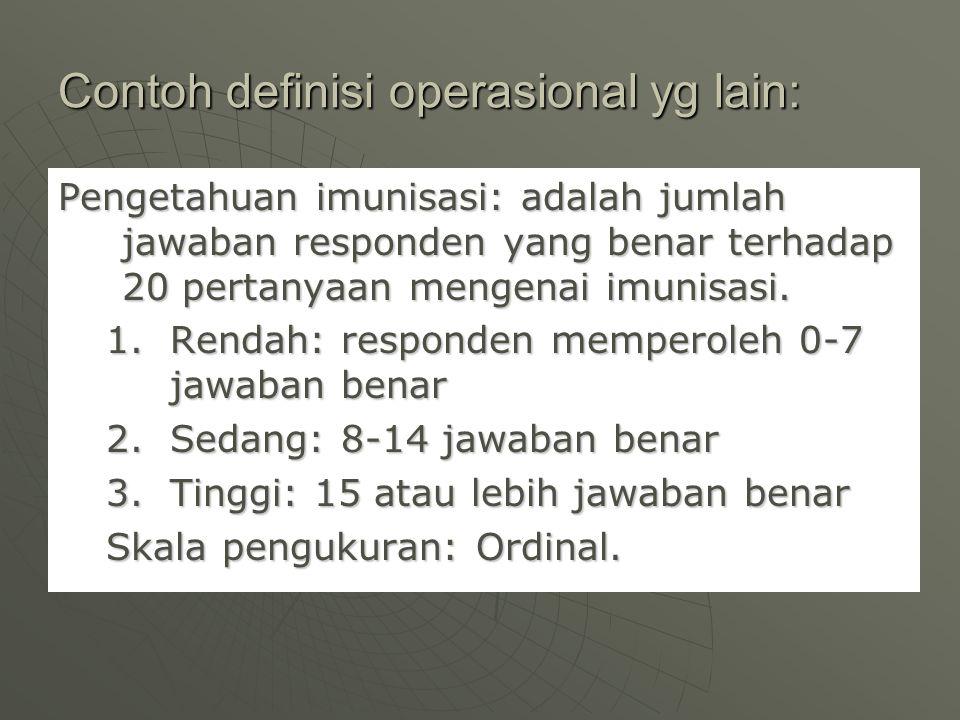 Contoh definisi operasional yg lain:
