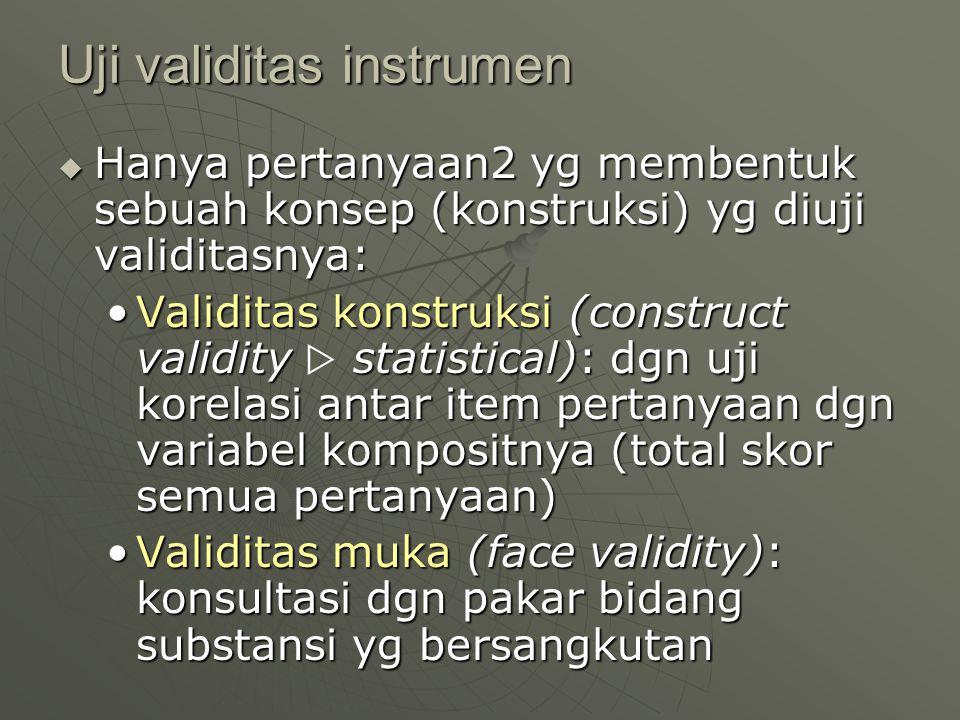 Uji validitas instrumen