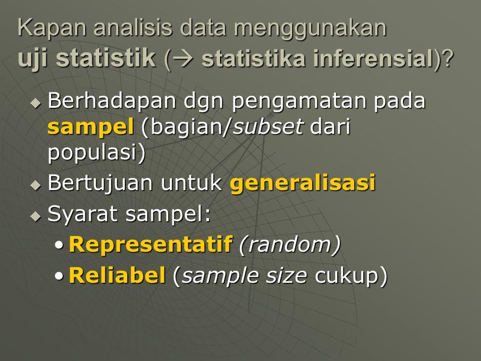 Kapan analisis data menggunakan uji statistik ( statistika inferensial)