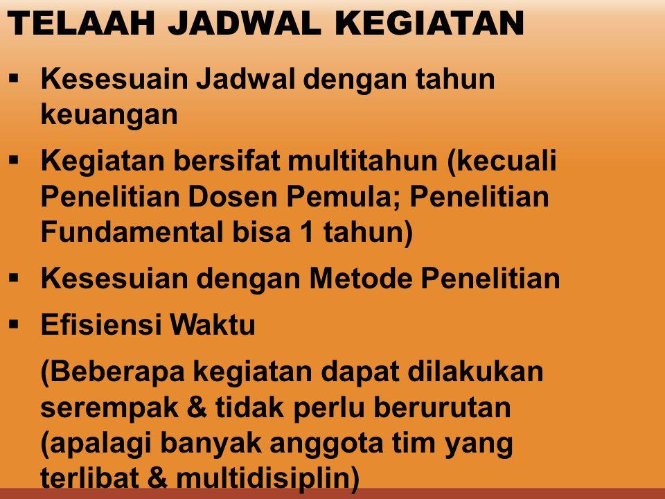 TELAAH JADWAL KEGIATAN