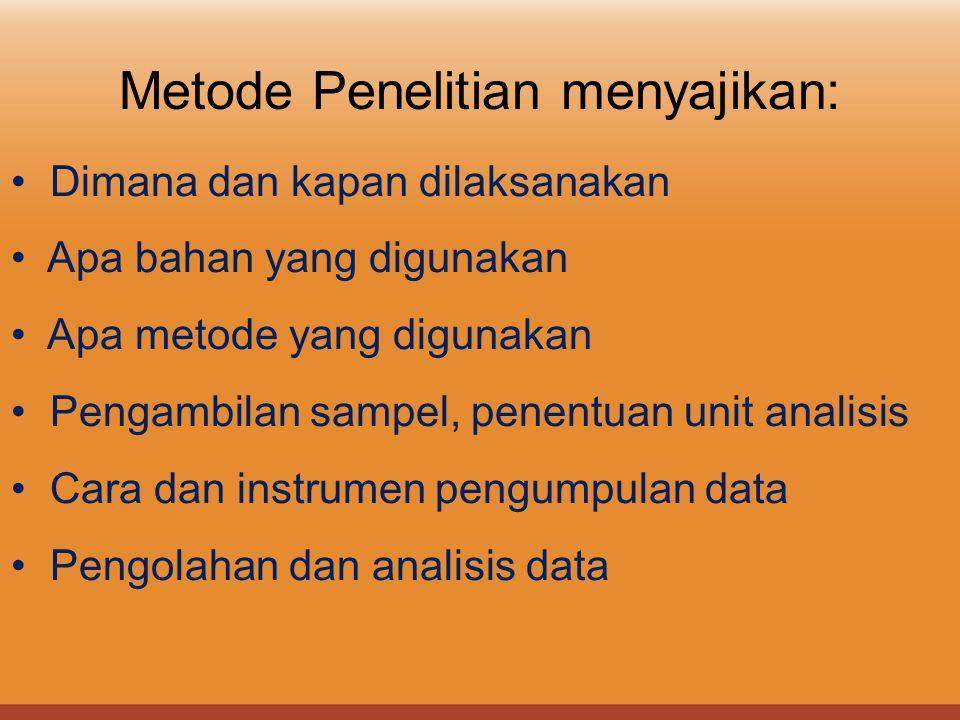 Metode Penelitian menyajikan: