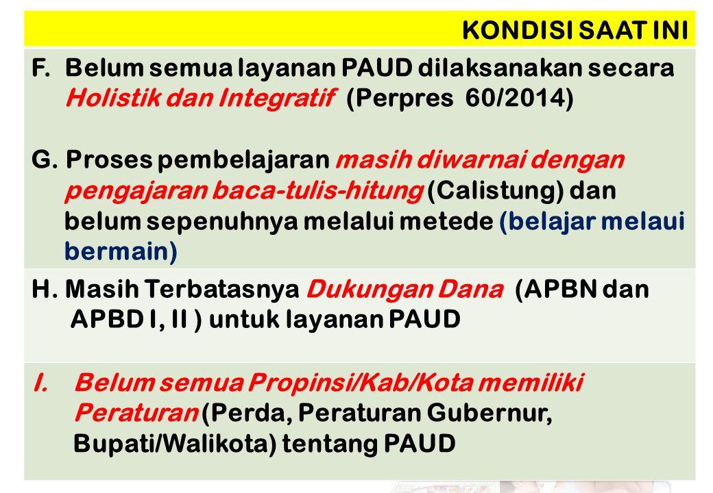 KONDISI SAAT INI F. Belum semua layanan PAUD dilaksanakan secara Holistik dan Integratif (Perpres 60/2014)