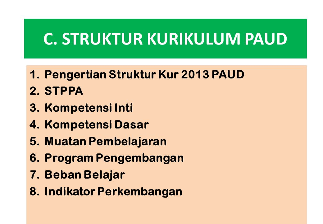 C. STRUKTUR KURIKULUM PAUD