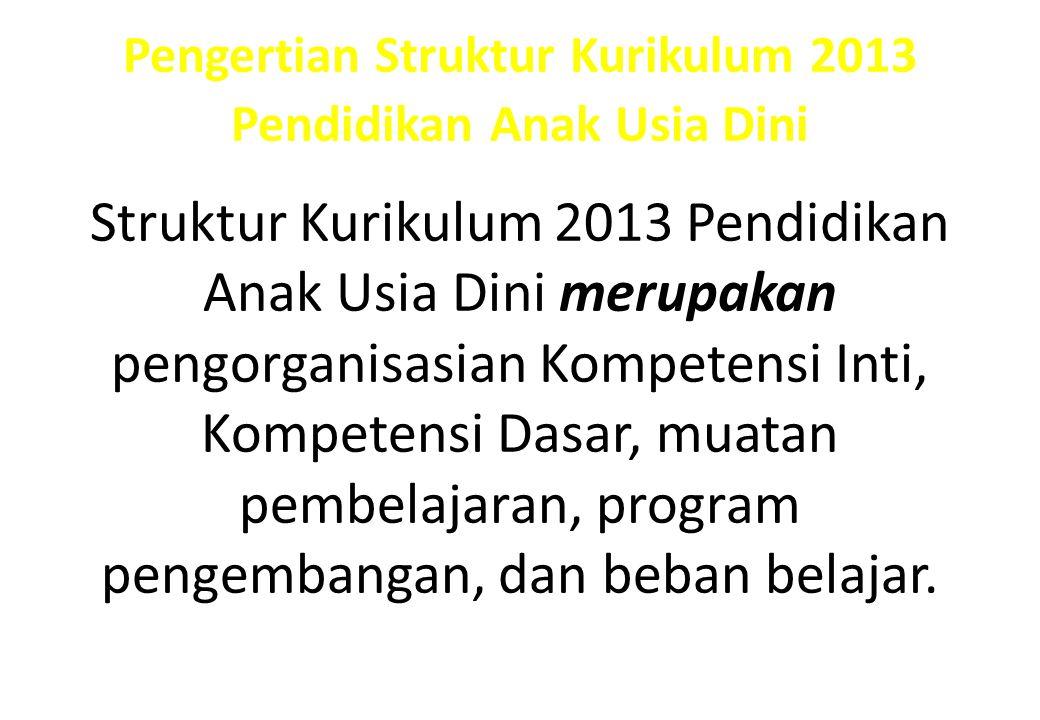 Pengertian Struktur Kurikulum 2013 Pendidikan Anak Usia Dini