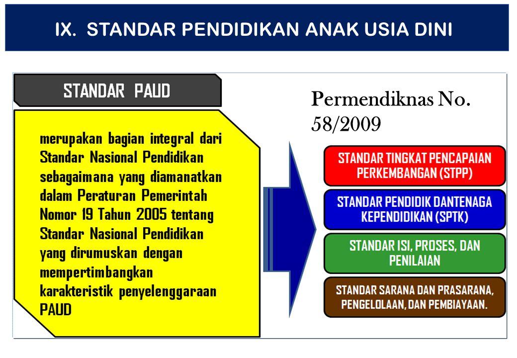 Permendiknas No. 58/2009 IX. STANDAR PENDIDIKAN ANAK USIA DINI