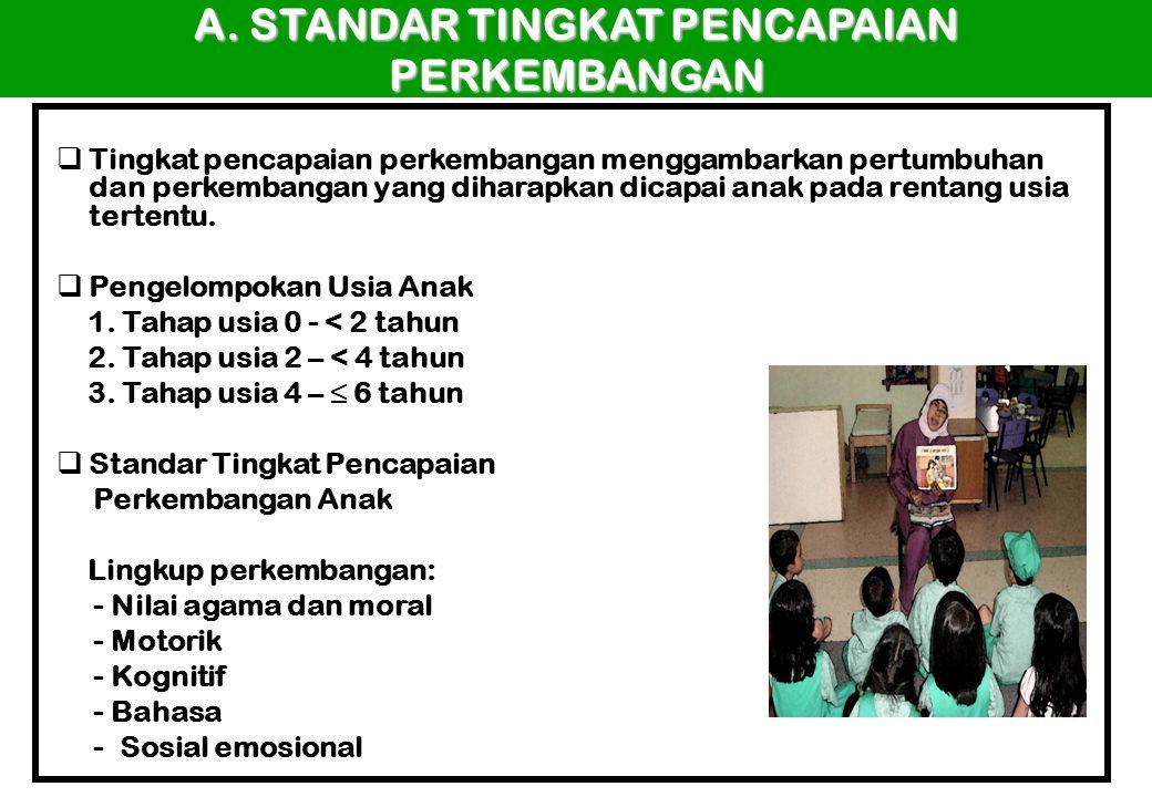 A. STANDAR TINGKAT PENCAPAIAN PERKEMBANGAN