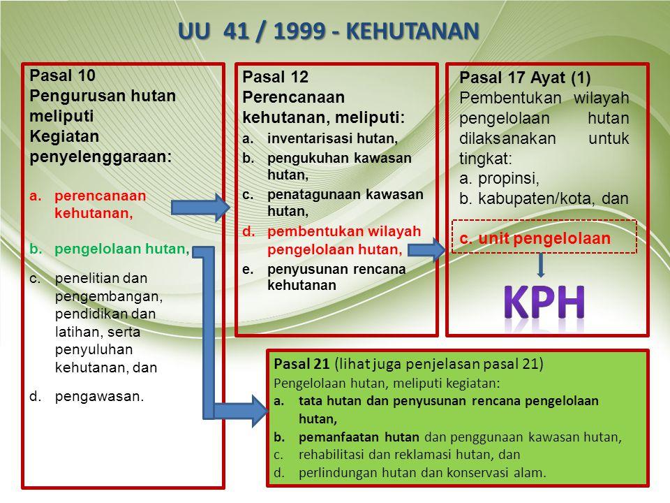 KPH UU 41 / 1999 - KEHUTANAN Pasal 10 Pengurusan hutan meliputi