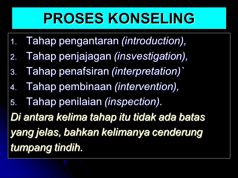 PROSES KONSELING Tahap pengantaran (introduction),