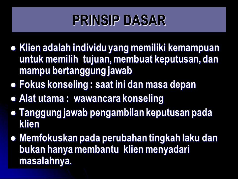 PRINSIP DASAR Klien adalah individu yang memiliki kemampuan untuk memilih tujuan, membuat keputusan, dan mampu bertanggung jawab.