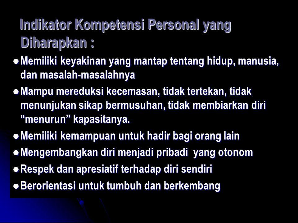 Indikator Kompetensi Personal yang Diharapkan :