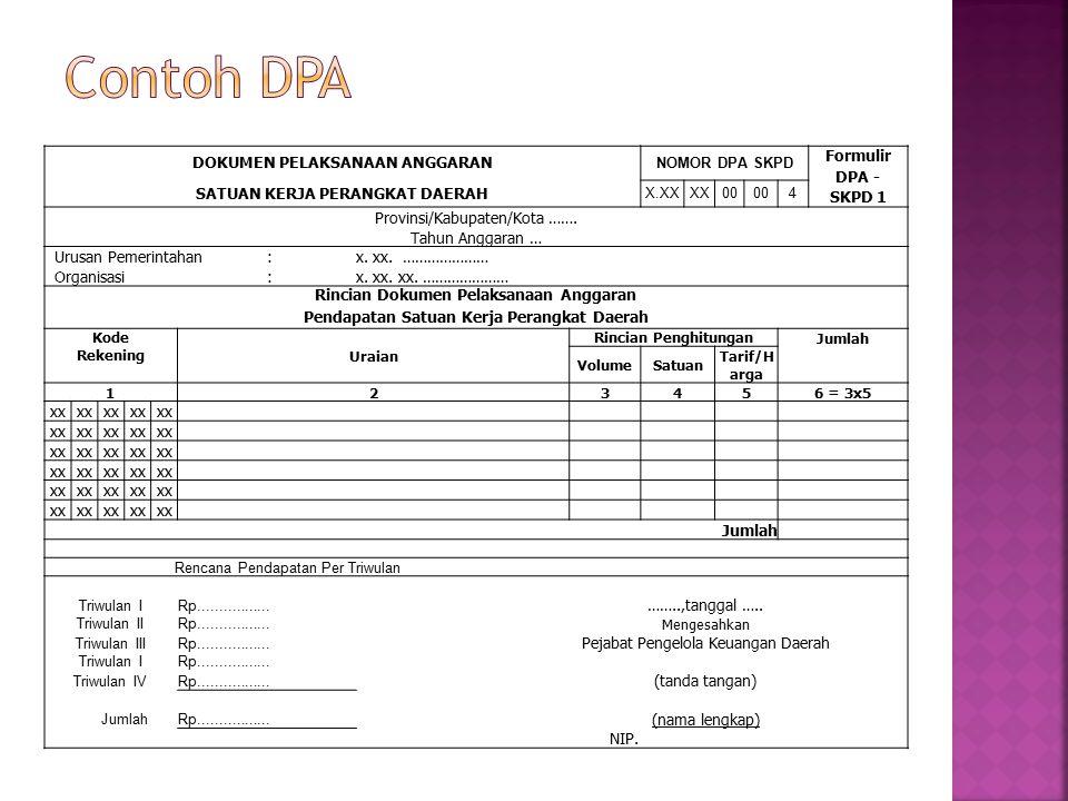 Contoh DPA DOKUMEN PELAKSANAAN ANGGARAN NOMOR DPA SKPD Formulir DPA -
