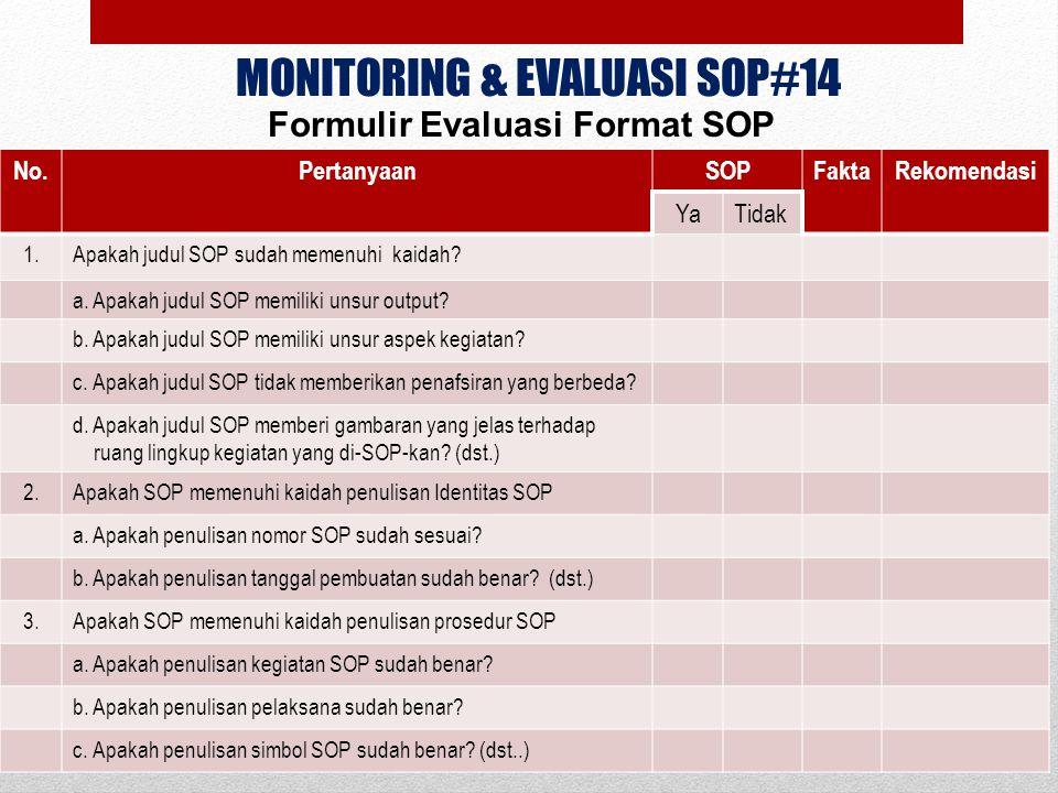 MONITORING & EVALUASI SOP#14