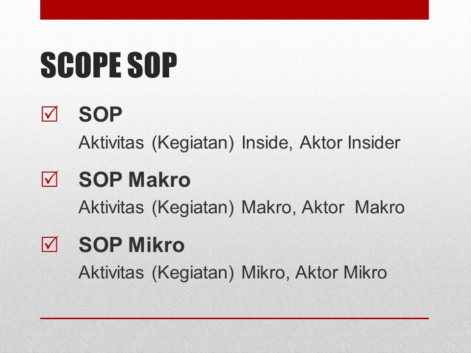 SCOPE SOP SOP SOP Makro SOP Mikro
