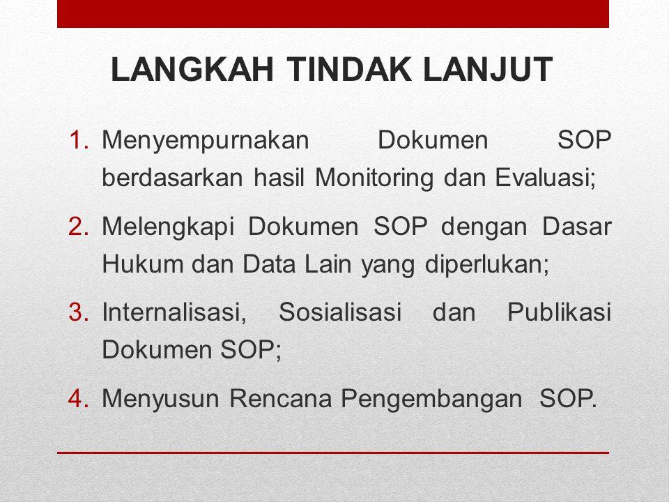 LANGKAH TINDAK LANJUT Menyempurnakan Dokumen SOP berdasarkan hasil Monitoring dan Evaluasi;