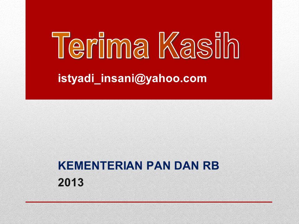 Terima Kasih istyadi_insani@yahoo.com KEMENTERIAN PAN DAN RB 2013