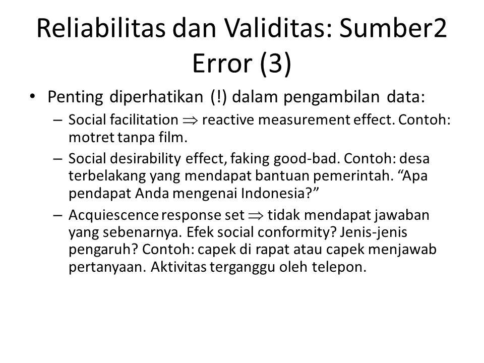 Reliabilitas dan Validitas: Sumber2 Error (3)