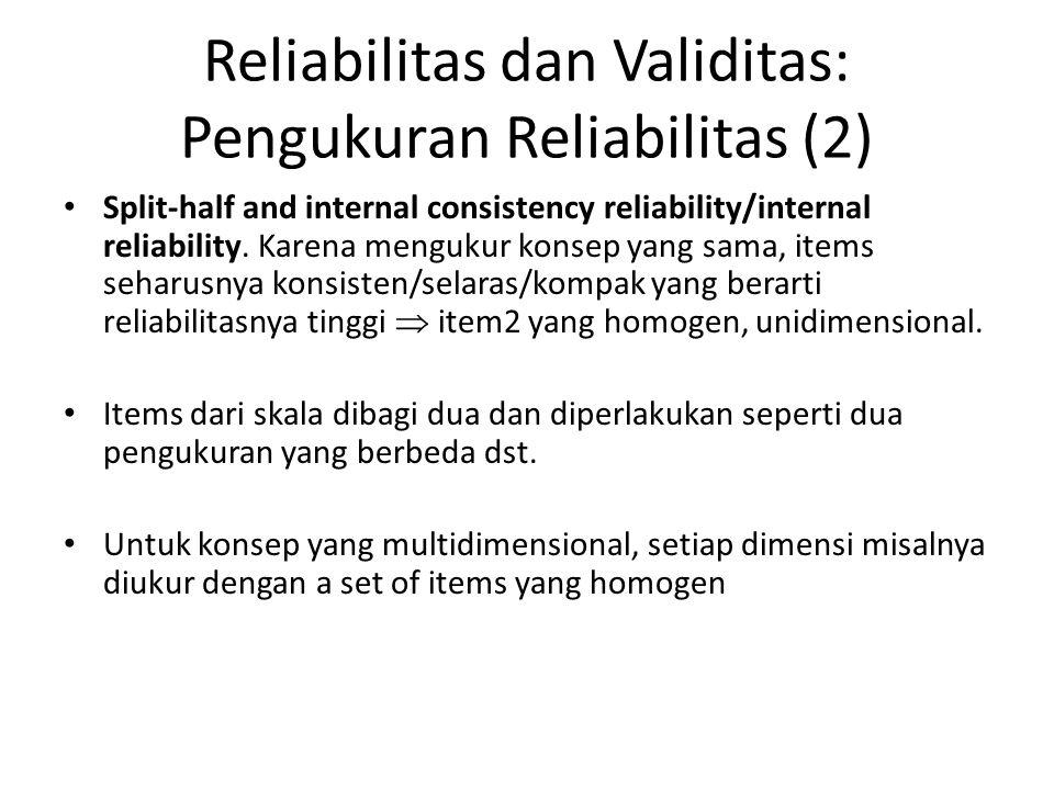 Reliabilitas dan Validitas: Pengukuran Reliabilitas (2)