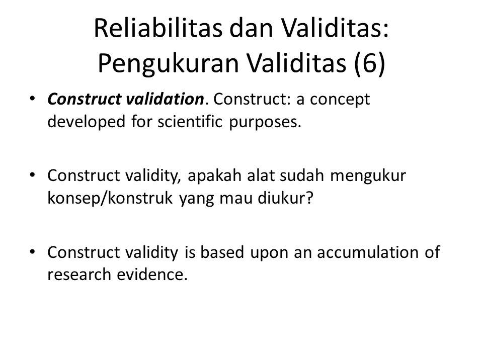 Reliabilitas dan Validitas: Pengukuran Validitas (6)