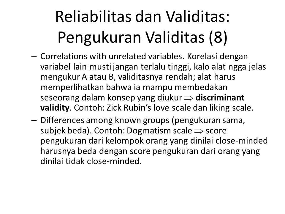 Reliabilitas dan Validitas: Pengukuran Validitas (8)