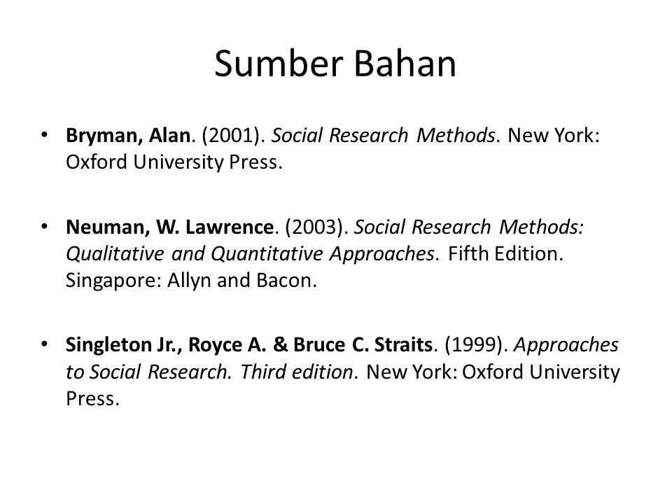 Sumber Bahan Bryman, Alan. (2001). Social Research Methods. New York: Oxford University Press.