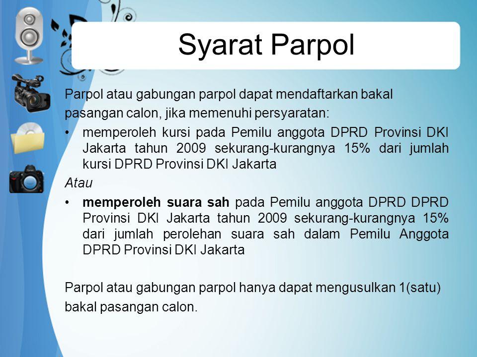 Syarat Parpol Parpol atau gabungan parpol dapat mendaftarkan bakal