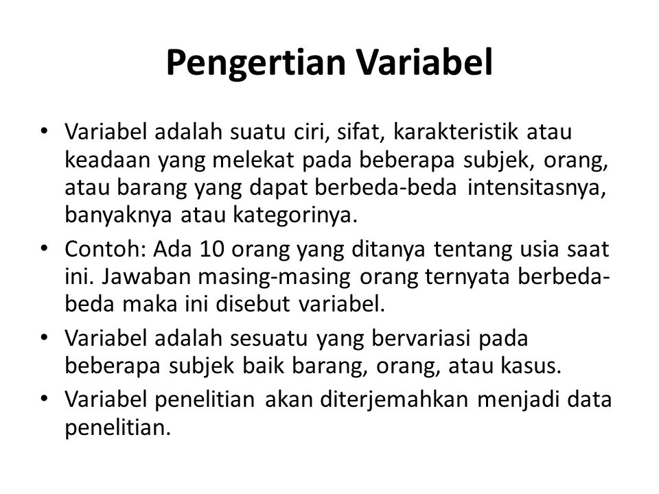 Pengertian Variabel