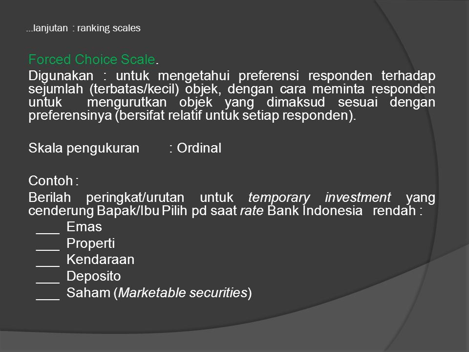 ...lanjutan : ranking scales