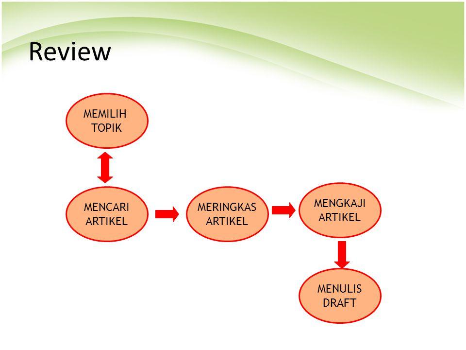 Review MEMILIH TOPIK MENGKAJI ARTIKEL MENCARI ARTIKEL MERINGKAS