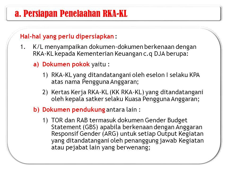 a. Persiapan Penelaahan RKA-KL