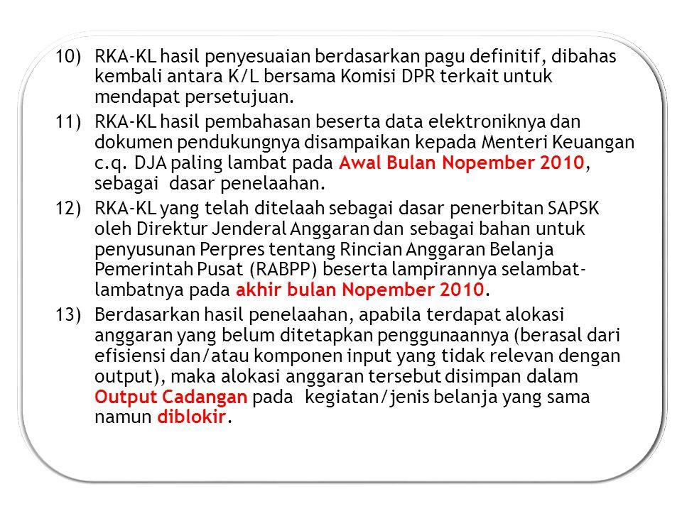 RKA-KL hasil penyesuaian berdasarkan pagu definitif, dibahas kembali antara K/L bersama Komisi DPR terkait untuk mendapat persetujuan.