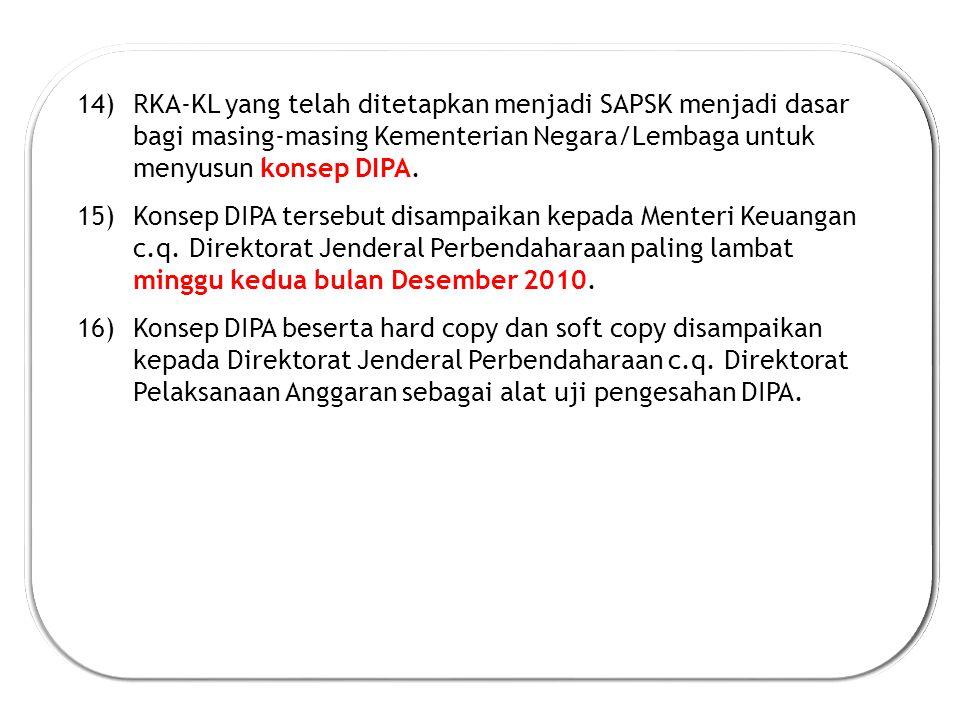 RKA-KL yang telah ditetapkan menjadi SAPSK menjadi dasar bagi masing-masing Kementerian Negara/Lembaga untuk menyusun konsep DIPA.