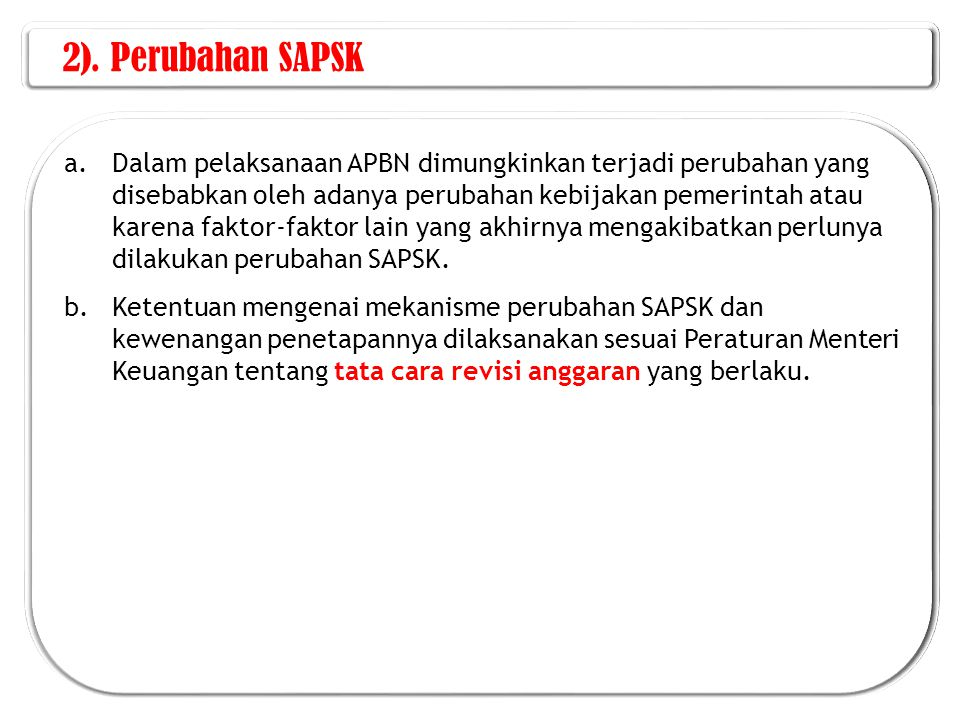2). Perubahan SAPSK