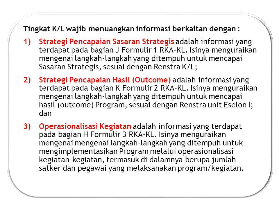 Tingkat K/L wajib menuangkan informasi berkaitan dengan :
